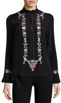 Vilshenko Floral-Embroidered Mock-Neck Top, Black/Ivory