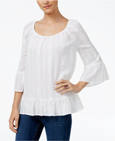 Style&Co. Style & Co Petite Mixed-Textured Crinkle Ruffle Top, Only at Macy's