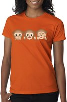 New Way 101 - Women's T-Shirt 3 Emoji Monkeys See Hear Speak No Evil XL