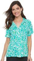Caribbean Joe Women's Palm Leaf Button Front Camp Shirt