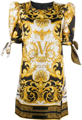 Versace V Barocco print short dress