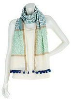 As Is Susan Graver Printed Cotton Lawn Oblong Scarf w/ Tassel Detail