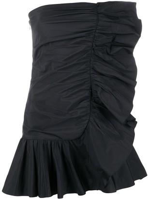 RED Valentino Ruffle-Trim Strapless Dress