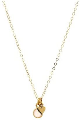 Dee Berkley Mini Valentines Necklace with Mini Heart Charm and Rose Quartz in Gold Tone (Gold) Necklace