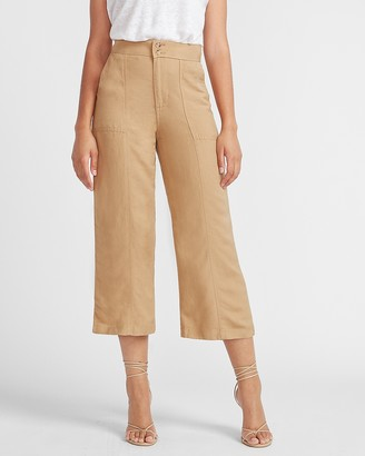 Express Super High Waisted Linen-Blend Cropped Wide Leg Utility Pant