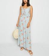 New Look Petite Floral Spot Lace Up Maxi Dress