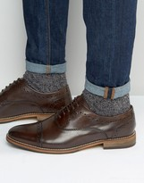 Asos Lace Up Shoes In Brown Leather