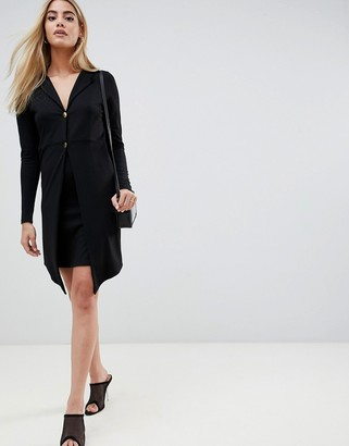 Asos Design DESIGN mini blazer dress with gold buttons-Black