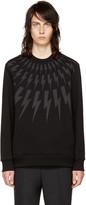 Neil Barrett Black and Grey Fairisle Thunderbolt Sweatshirt