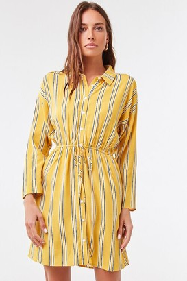 Forever 21 Drop-Sleeve Striped Shirt Dress