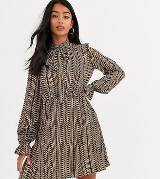 Vero Moda Petite pussy bow geometric print mini dress