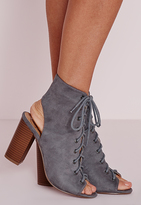 Missguided Lace Up Heeled Boots Grey