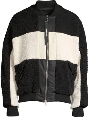 Daniel Patrick Faux Fur Panel Bomber Jacket