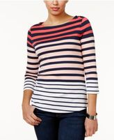 Charter Club Petite Stripe Button-Shoulder Top, Only at Macy's