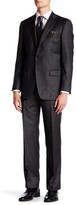 Hart Schaffner Marx Brown Glenplaid Two Button Notch Lapel Wool Suit