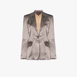 Situationist single-breasted one button wool blend blazer