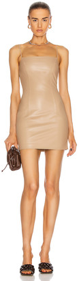 ZEYNEP ARCAY Mini Spaghetti Leather Dress in Beige | FWRD