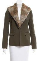 Elizabeth and James Fur-Trimmed Wool Blazer