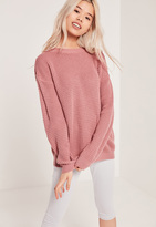 Missguided Waffle Knit Crew Neck Sweater Pink