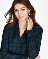 Brooks Brothers Petite Non-Iron Ruffled Black Watch Supima® Cotton Twill Shirt
