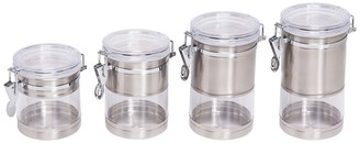 Honey-Can-Do Stainless Steel Trimmed Clear Acrylic Canister - Set of 4