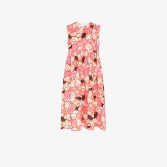 Marni sleeveless floral leaf print midi dress