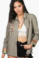 boohoo Boutique Hannah Embroidered Utility Jacket