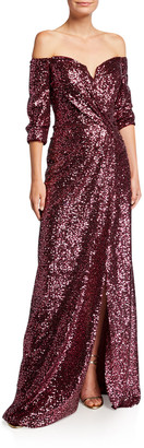 Rene Ruiz Collection Sequin Off-the-Shoulder 1/2-Sleeve Gown with Slit