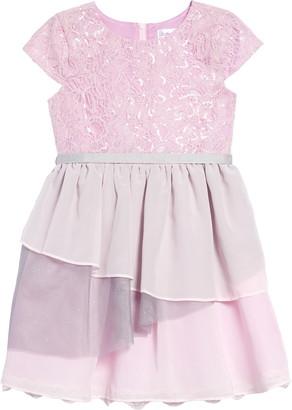 Little Angels Cap Sleeve Lace & Chiffon Dress