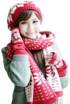 HERRICO Polar Fleece Hat Scarf Gloves,Triad Hat,Scarf and Gloves Set For Women