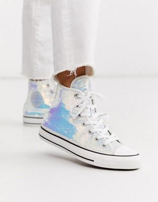 Converse Chuck Taylor Hi silver mini sequin sparkle trainers