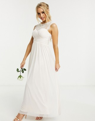 Lipsy Bridesmaid chiffon maxi dress wih embellishment in light pink