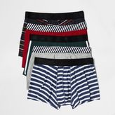 River Island MensNavy retro print trunks pack