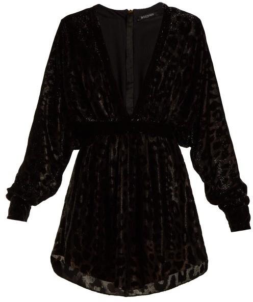 Balmain Batwing Sleeved Fil Coupe Velvet Mini Dress - Womens - Black