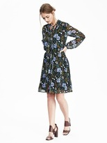 Banana Republic Floral Tie-Neck Dress