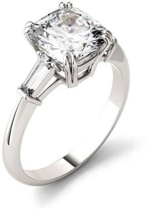 Charles & Colvard Moissanite Cushion and Baguette Engagement Ring 2-3/4 ct. t.w. Diamond Equivalent in 14k White Gold