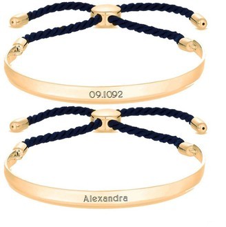 Simply Silver Gold Plated Sterling Silver Personalised Engravable Bar Adjustable Navy Toggle Bracelet