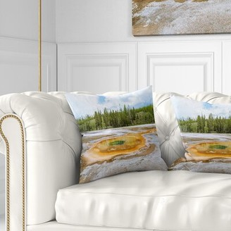 """Pool' East Urban Home Landscape Chromatic Morning Glory Pool Pillow East Urban Home Size: 16"""" x 16"""", Product Type: Throw Pillow"""