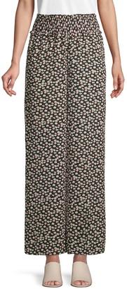 CeCe Floral-Print Wide-Leg Pants