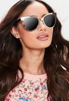 Missguided Gold Cat Eye Contrast Sunglasses, Black