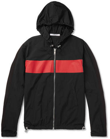Givenchy Logo-Print Colour-Block Shell Hooded Jacket