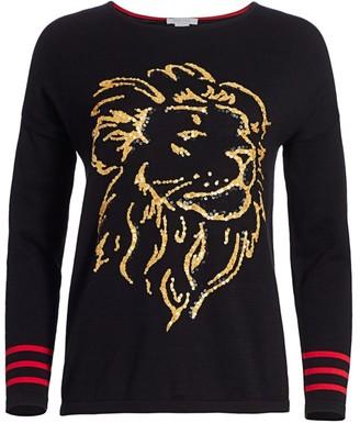 Joan Vass Petite Lion Intarsia Sweater