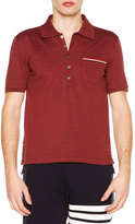 Thom Browne Short-Sleeve Pique Polo Shirt, Burgundy