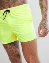 Asos Swim Shorts In Neon Yellow Short Length