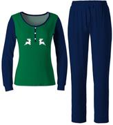 Green & Navy Jumping Reindeer Pajama Set - Women & Plus