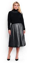 Lands' End Women's Plus Size Woven Pleated Midi Skirt-Gunmetal Metallic