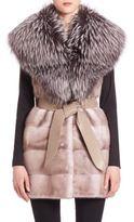 The Fur Salon Belted Fox & Mink Fur Vest