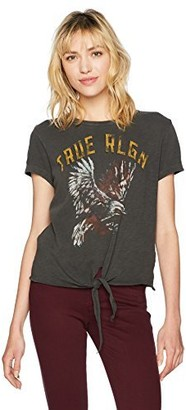 True Religion Women's Tie Front Tee with Eagle Graphic