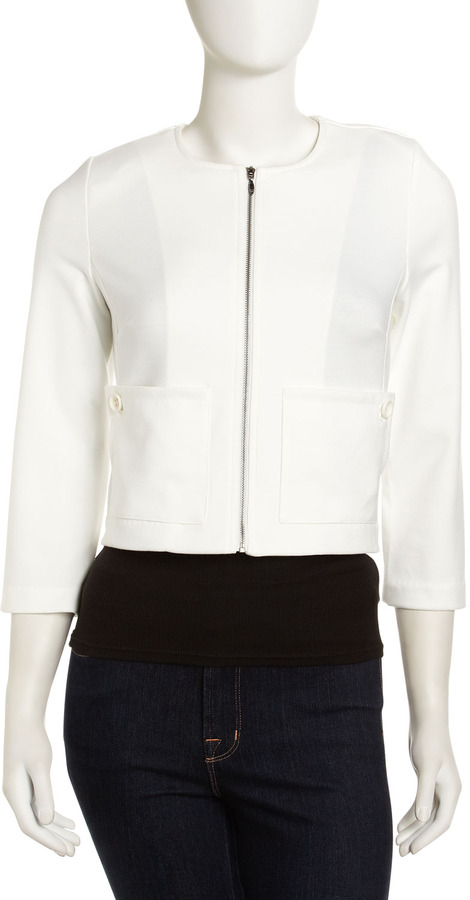 Laundry by Shelli Segal Cropped Zip Jacket, Warm White