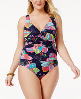 Anne Cole Plus Size Cactus Printed Underwire One-Piece Swimsuit